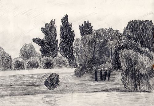 Pencil drawn landscape with a small river embankment dam and old park, poplar, linden and willow trees. Monochrome illustration for book cover