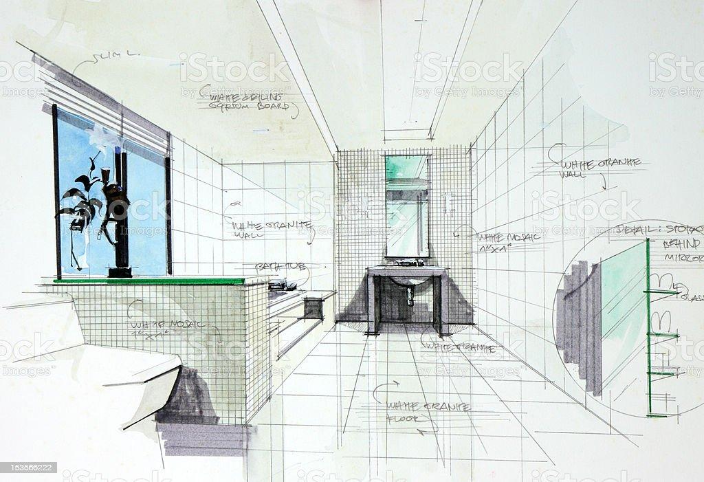Bleistift Hand Zeichnen Und Wasserfarbe Der Badezimmer Lizenzfreies Vektor  Illustration