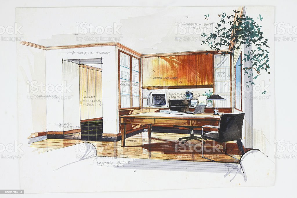 Pencil hand draw and watercolor paint of study room vector art illustration