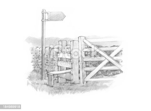 istock Pencil Motif One Sign Stile and Gate 184989918