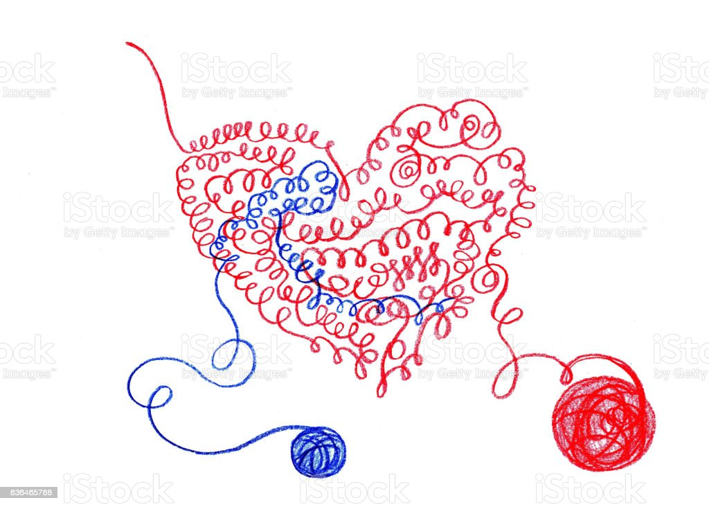 dibujo a lápiz, corazón relacionadas con hilo - ilustración de arte vectorial