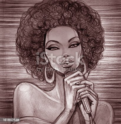 istock A pencil sketch of a female singer with an Afro 161842548