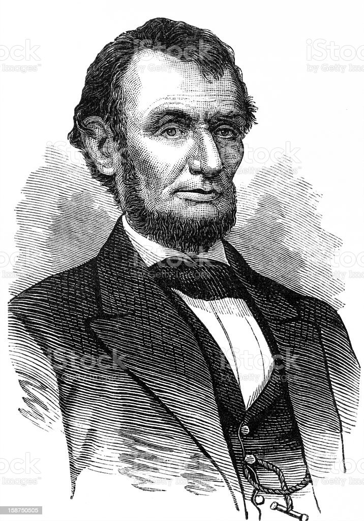 Penciled portrait of Abraham Lincoln vector art illustration