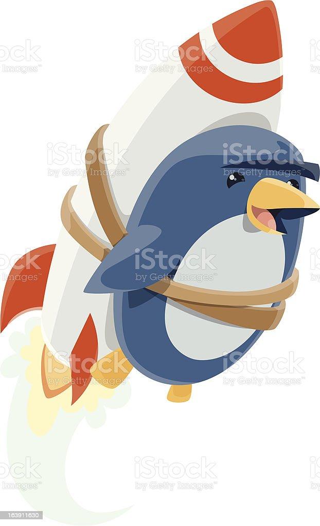 Penguin Rocket vector art illustration