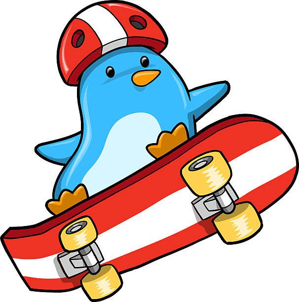 Penguin Skater Vector vector art illustration