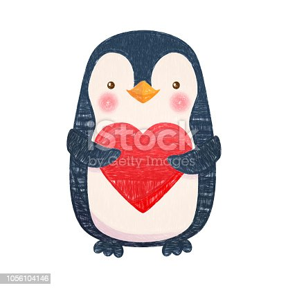 Penguin with heart. Penguin cartoon illustration. Cute animal