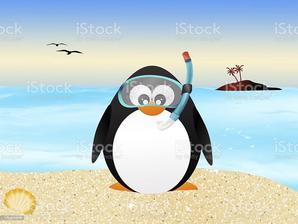 penguin with scuba mask vector art illustration