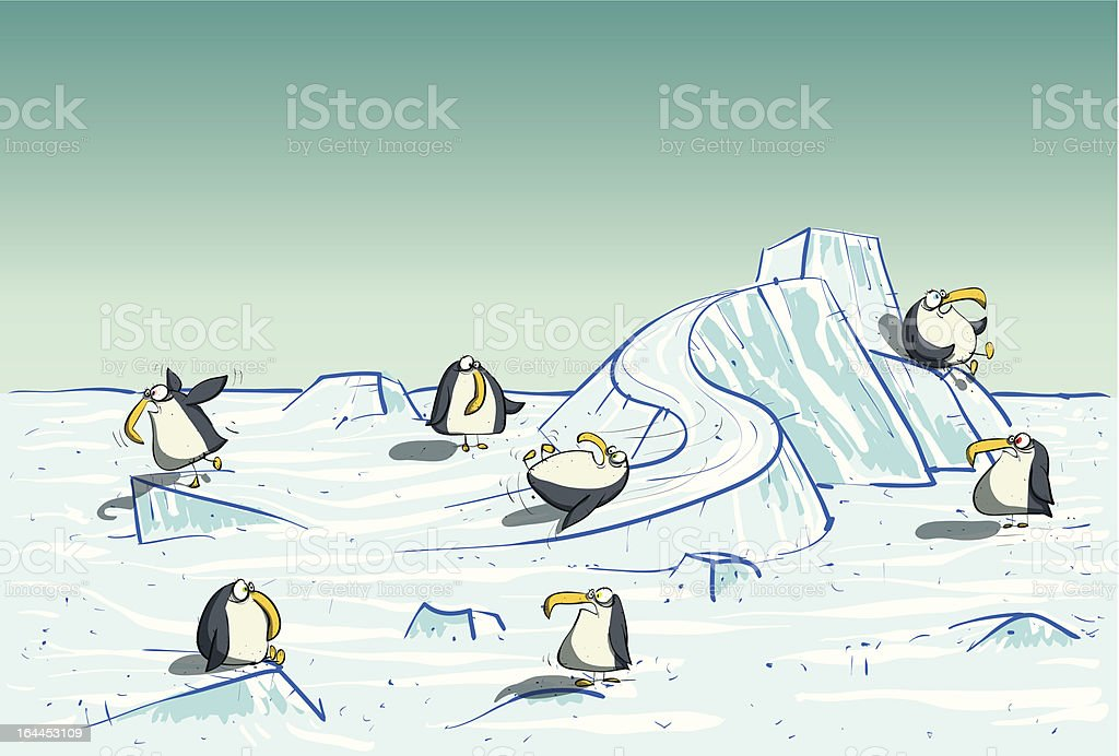 Penguins' Playground royalty-free stock vector art