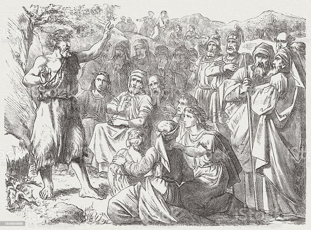 Penitential sermon of John the Baptist, wood engraving, published 1877 vector art illustration