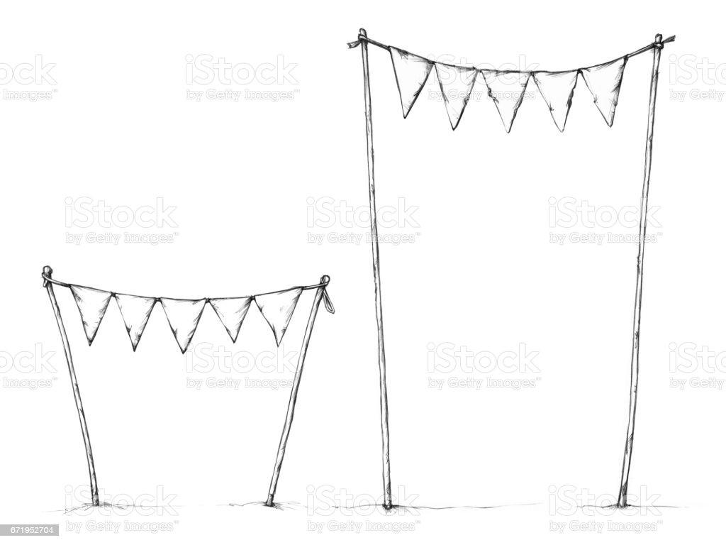 Pennant chain in the shape of a gate – Vektorgrafik