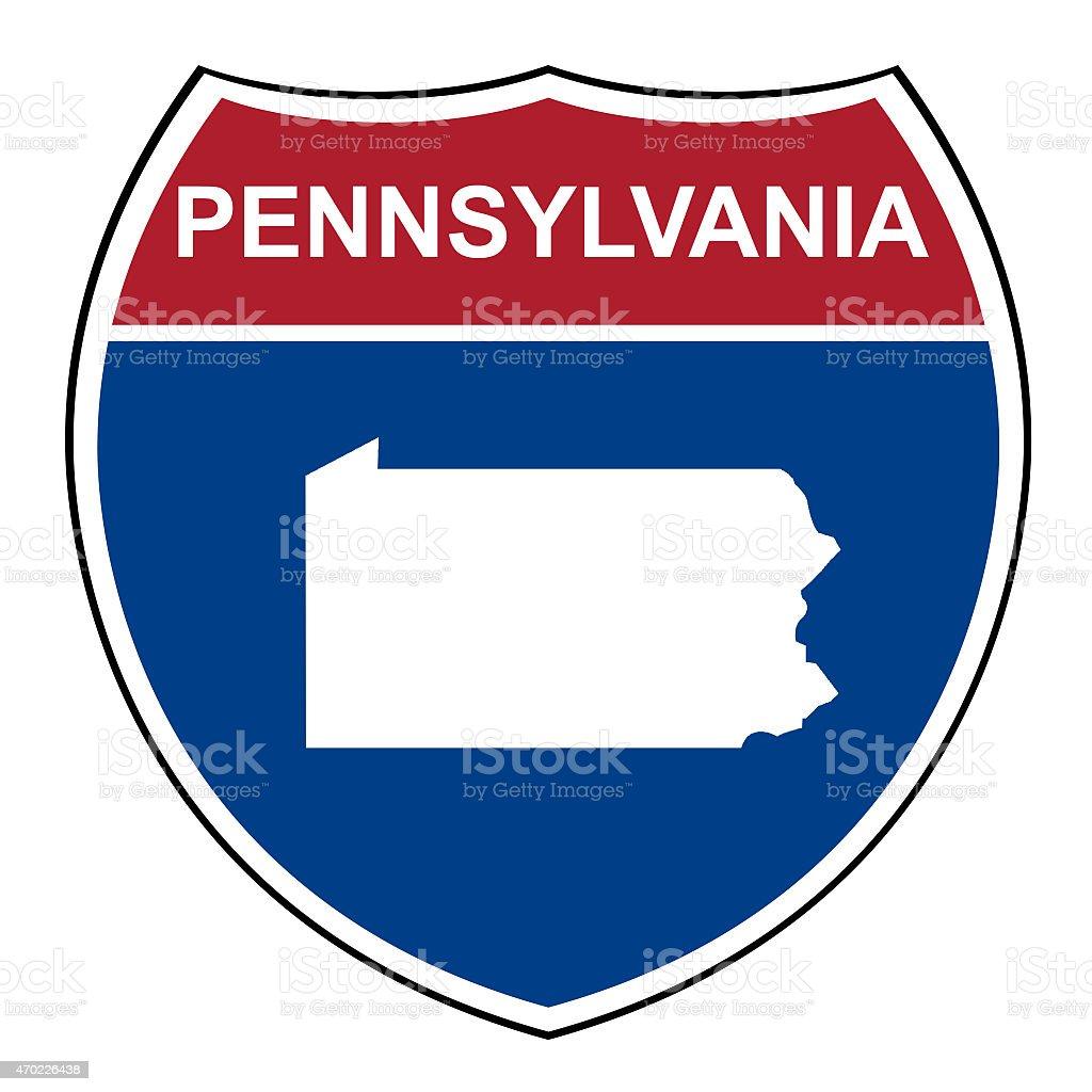 Pennsylvania interstate highway shield vector art illustration