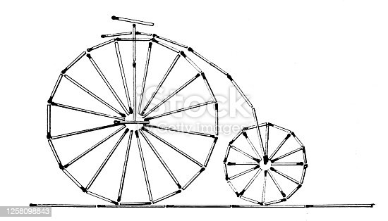 istock Penny farthing bicycle laid out of matches, white background 1258098843