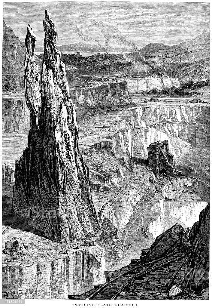 Penrhyn slate quarries, Wales vector art illustration