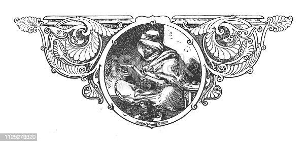 Illustration of Pensive Arab scholar reading
