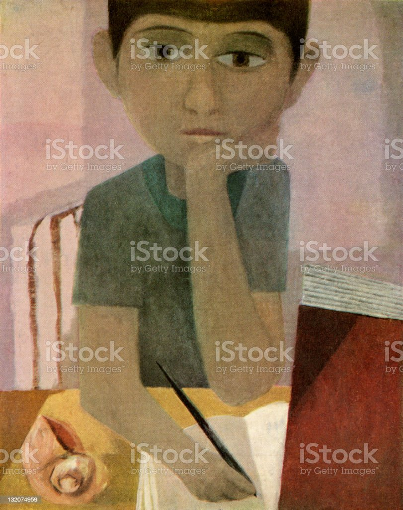 Pensive Boy Writing in Notebook vector art illustration