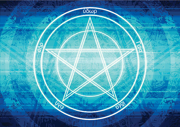 Pentagram background vector art illustration
