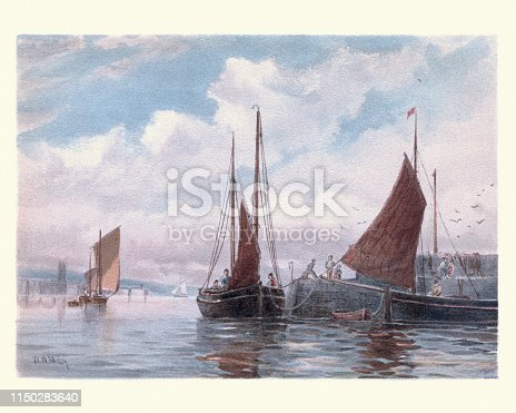 Vintage painting of Victorian Penzance Lugger fishing boats at Newlyn, 19th Century, 19th Century
