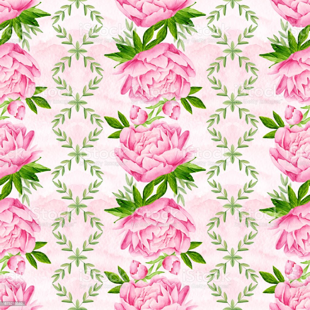 Peony Flowers Seamless Pattern Background Tender Pink Flowers