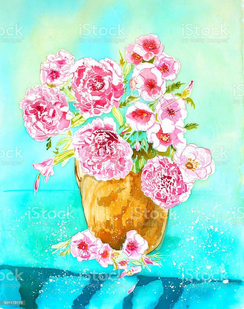Peony In Vase An Original Modern Batik Painting On Silk Stock Vector
