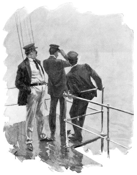 People Aboard A Ship Off the East Coast of the United States - 19th Century vector art illustration