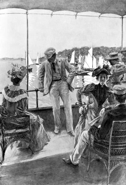 People Aboard a Yacht Off the East Coast of the United States - 19th Century vector art illustration