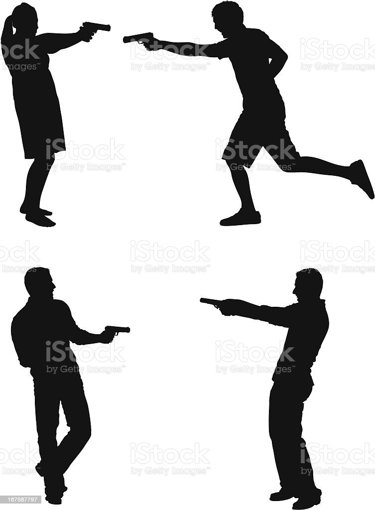 People aiming with handguns royalty-free stock vector art