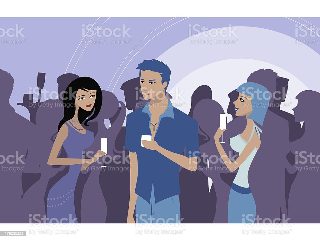 People at a party vector art illustration