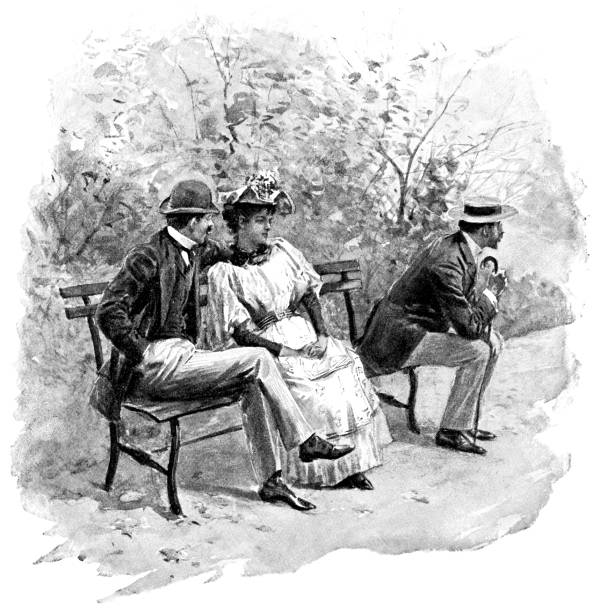 People at Central Park in Manhattan, New York City, New York, United States - 19th Century vector art illustration