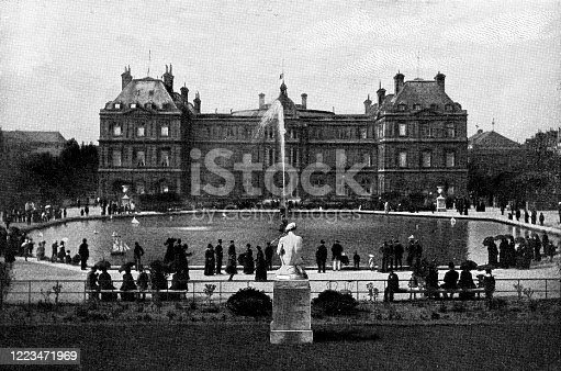 People at Luxembourg Palace in Paris, France. Vintage half-tone etching circa mid 19th century.