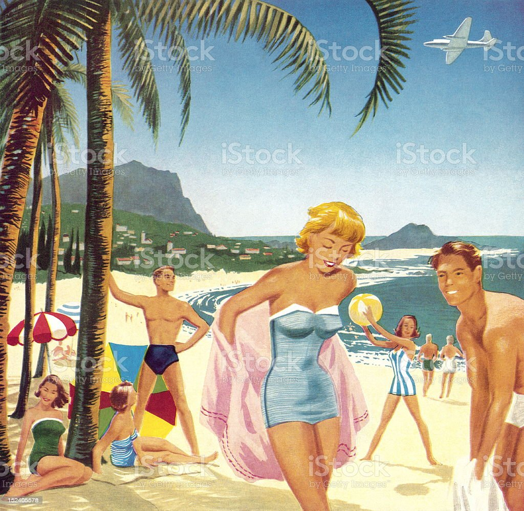 People At The Beach vector art illustration