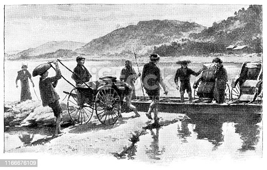 People boarding a ferry on the Ibo River in Hyogo Prefecture, Japan. Vintage etching circa late 19th century.