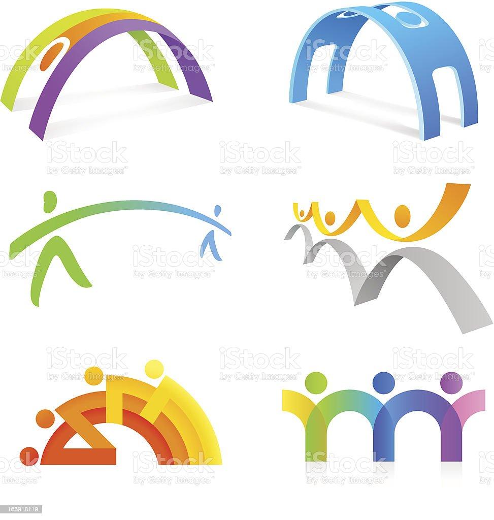 People Bridge vector art illustration