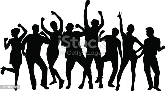 A group of people dancing in silhouette.