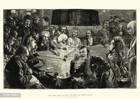 istock People gambling in casino, Rouge et Noir, gambling card game, Victorian 19th Century 1328154921