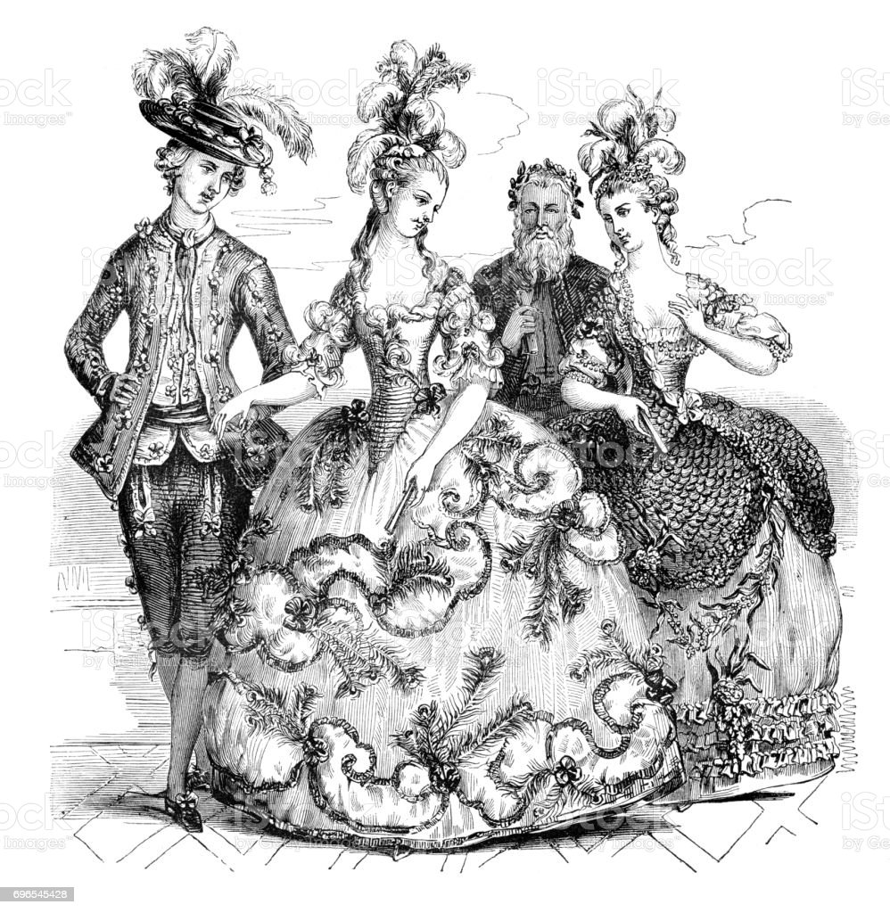 People going to opera in traditional costumes Marie Antoinette 1785 vector art illustration
