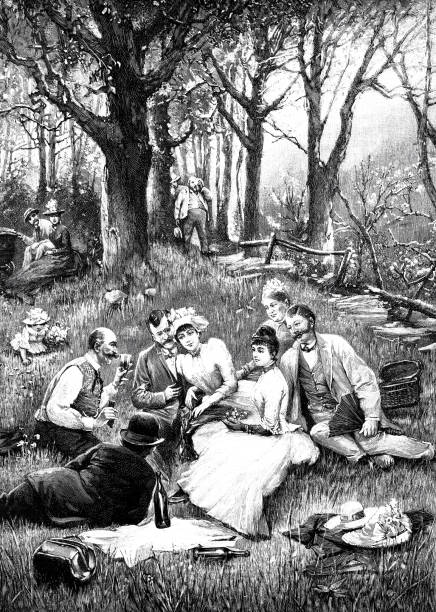 People having a picnic in the Vienna Woods vector art illustration