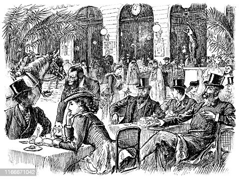 Large crowd of people having breakfast at a cafe in Paris, France. Vintage etching circa late 19th century.