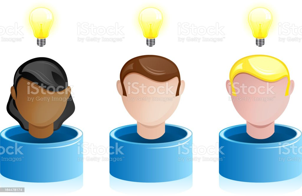 People Heads with Creativity Light Bulb royalty-free stock vector art