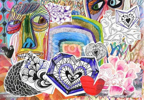 Collage of doodle hearts and hand drawn people faces