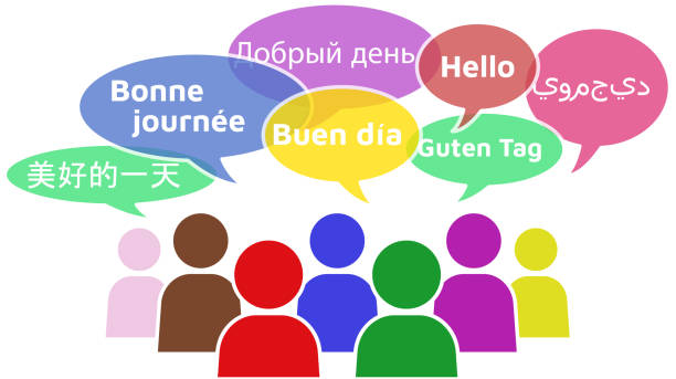 illustrazioni stock, clip art, cartoni animati e icone di tendenza di people hello different languages - spagnolo lingua
