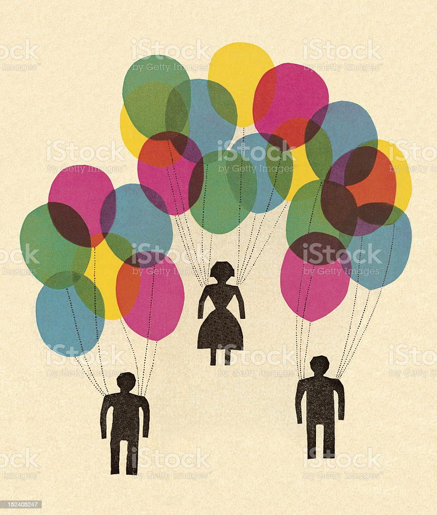 People Holding Balloons royalty-free people holding balloons stock vector art & more images of balloon