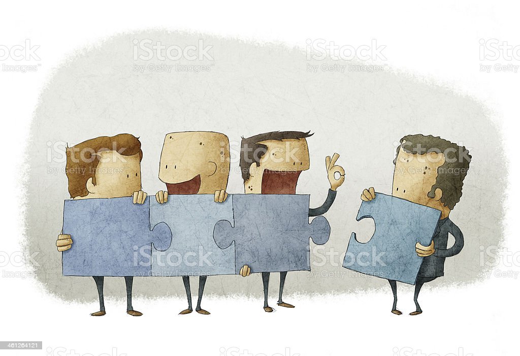 People holding pieces of a jigsaw vector art illustration