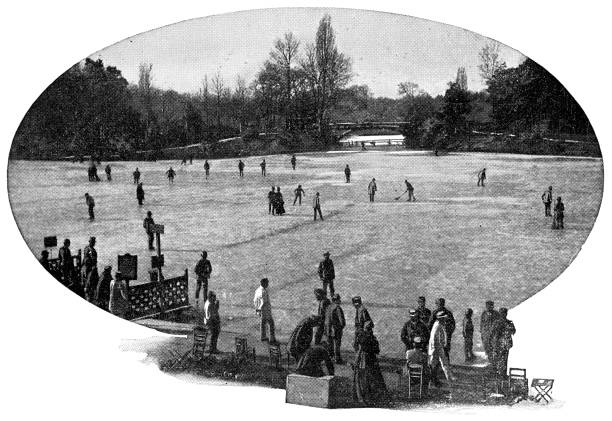 People Ice Skating at Bois de Boulogne Park in Paris, France - 19th Century People ice skating at Bois de Boulogne park in Paris, France. Vintage etching circa mid 19th century. bois stock illustrations