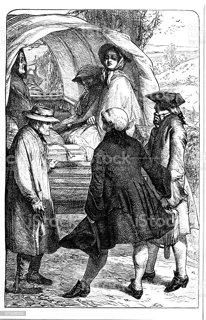 人の背中に 1862 journmal 幌馬車 19世紀風のベクターアート素材や画像