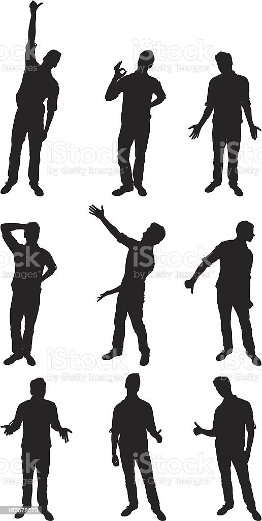 People in different poses vector art illustration