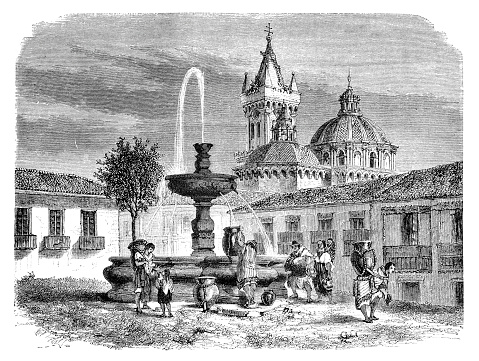 People in the streets of Quito near the cathedral of Quito Ecuador 1867