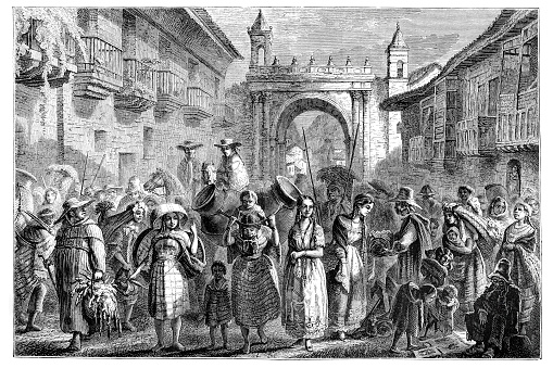 People in the streets of Quito selling on market Ecuador 1867