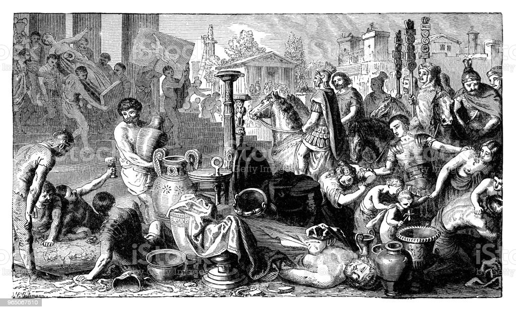 People looting in Corinth royalty-free people looting in corinth stock vector art & more images of 19th century