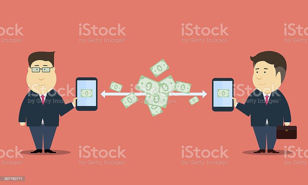 People mobile online business transaction vector art illustration