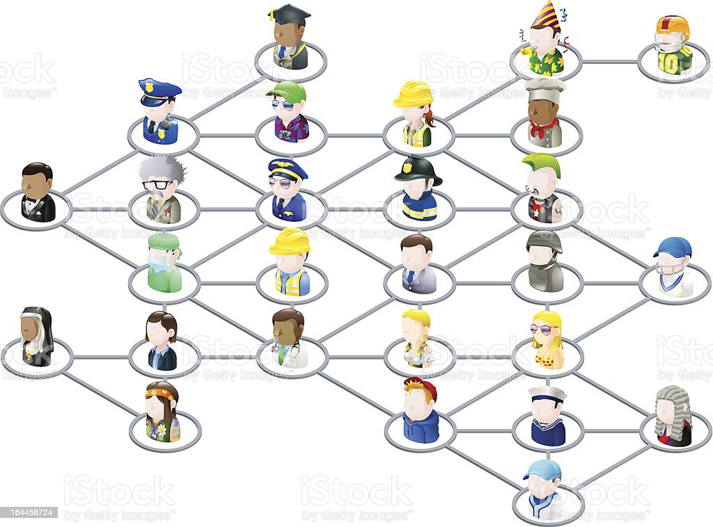 People network graphic vector art illustration